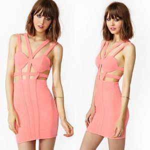 Nasty Gal Commotion Cage Dress in Salmon Medium
